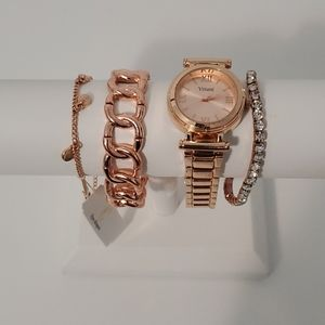 Rose Gold Tone Watch and Bracelets